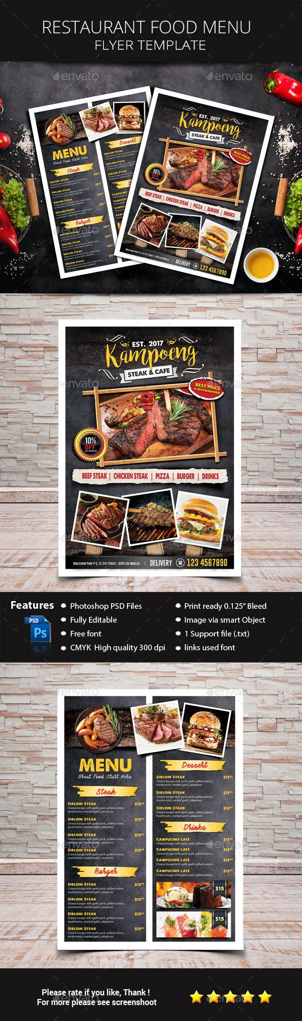 Restaurant Food Menu - Restaurant Flyers