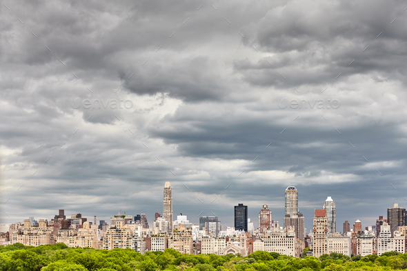Stormy cloudscape over Manhattan skyline, NYC. - Stock Photo - Images