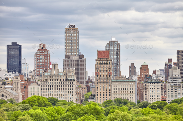 Manhattan skyline over the Central Park, NYC. - Stock Photo - Images