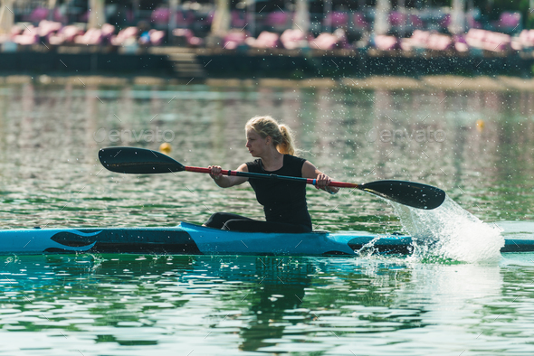 Kayak - female kayaker, training - Stock Photo - Images