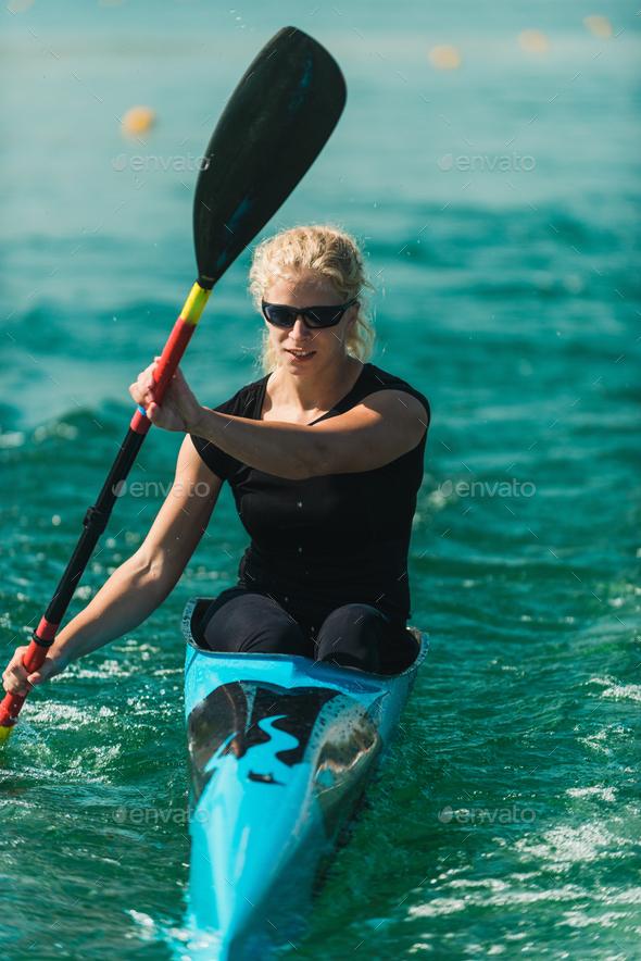 Kayak - female kayaker, training - Stock Photo - Images