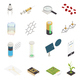 Nanotechnology Nanoscience Isometric Elements Collection