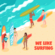 Surfing Horizontal Illustration