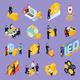 ICO Blockchain Concept Isometric Icons