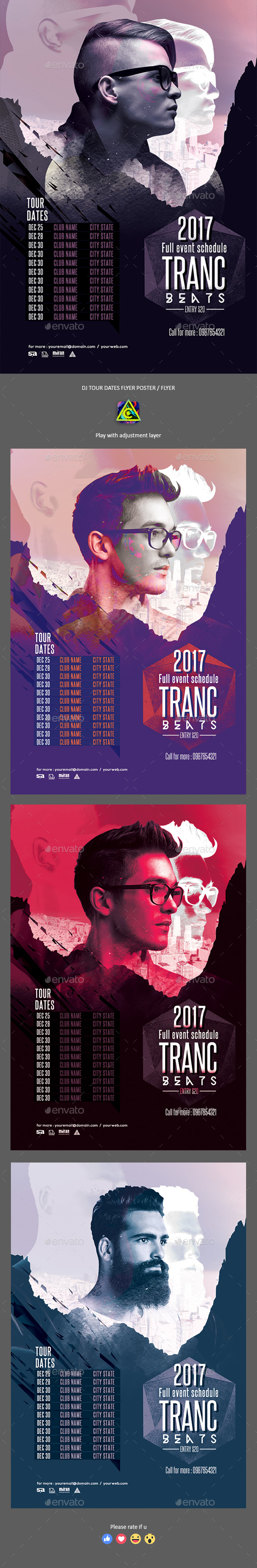 DJ Tour Dates Poster / Flyer - Clubs & Parties Events