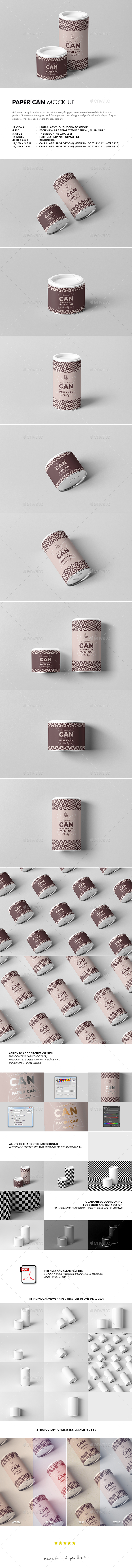 Paper Can Mock-up - Food and Drink Packaging