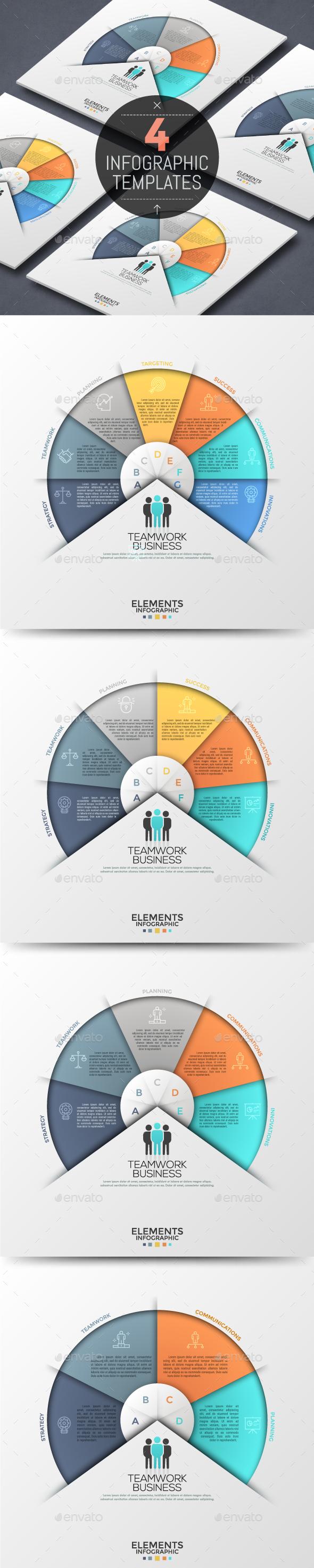 Modern Infographic Circular Template (4 Items) - Infographics