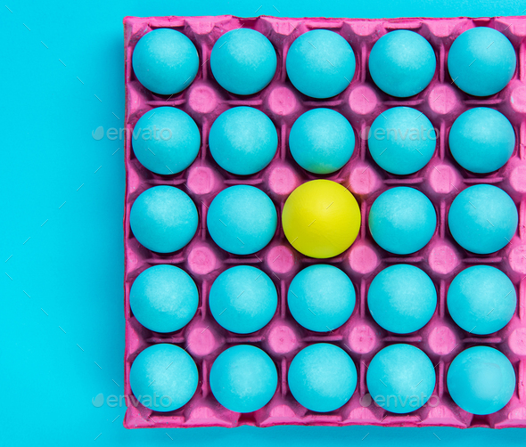 Creative pattern of pastel eggs,be yourself visual art - Stock Photo - Images