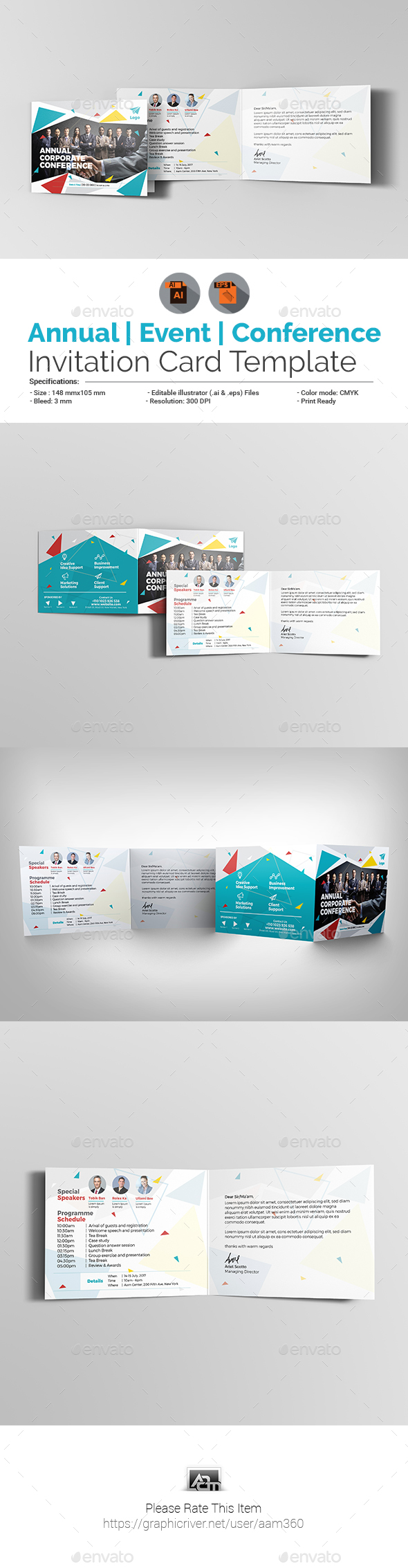 Annual Corporate Event/Conference Invitation Card - Cards & Invites Print Templates