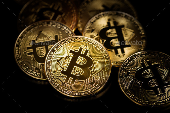 Golden bitcoins. Coin of cryptocurrency. - Stock Photo - Images