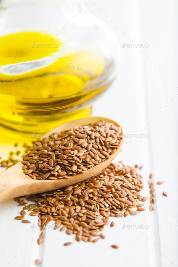 Healthy brown linseeds. - Stock Photo - Images