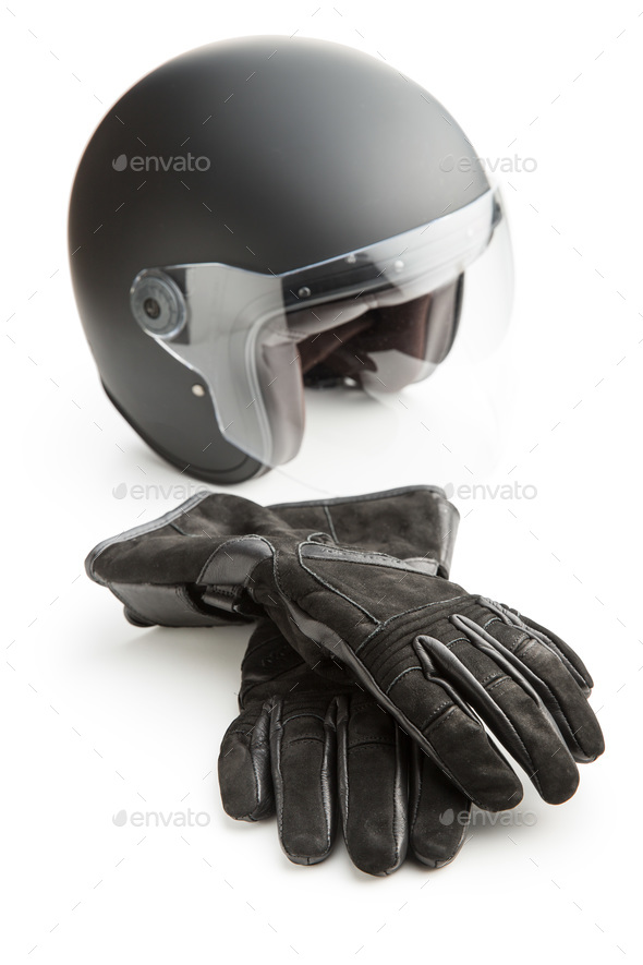 Motorcycle gloves and helmet. - Stock Photo - Images