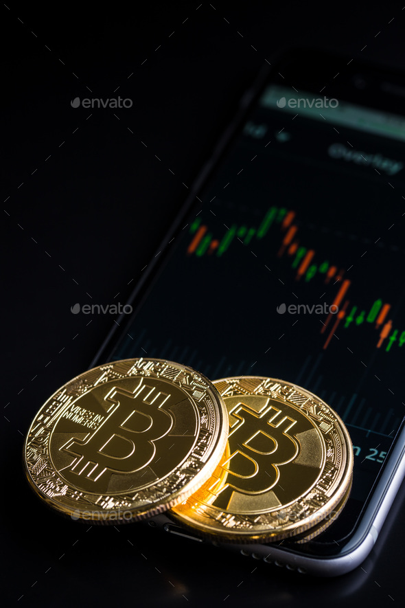 Concept with bitcoins and candle graph. - Stock Photo - Images