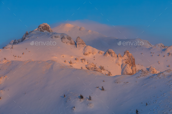 sunrise in Ciucas Mountains, Romania - Stock Photo - Images