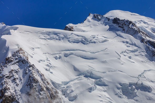 Mont Blanc massif in the French Alps - Stock Photo - Images