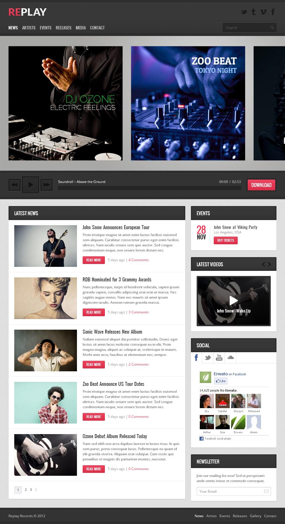 Replay - Responsive Music WordPress Theme by themex | ThemeForest