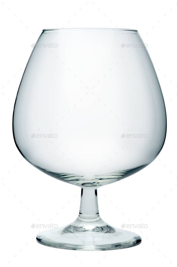 Empty cognac glass, isolated on a white background - Stock Photo - Images