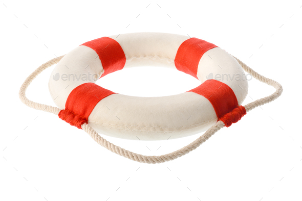 White-red lifebuoy - Stock Photo - Images