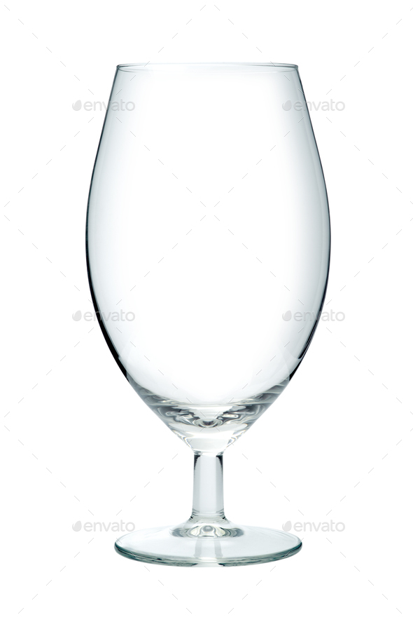 Empty beer glass, isolated on a white background - Stock Photo - Images
