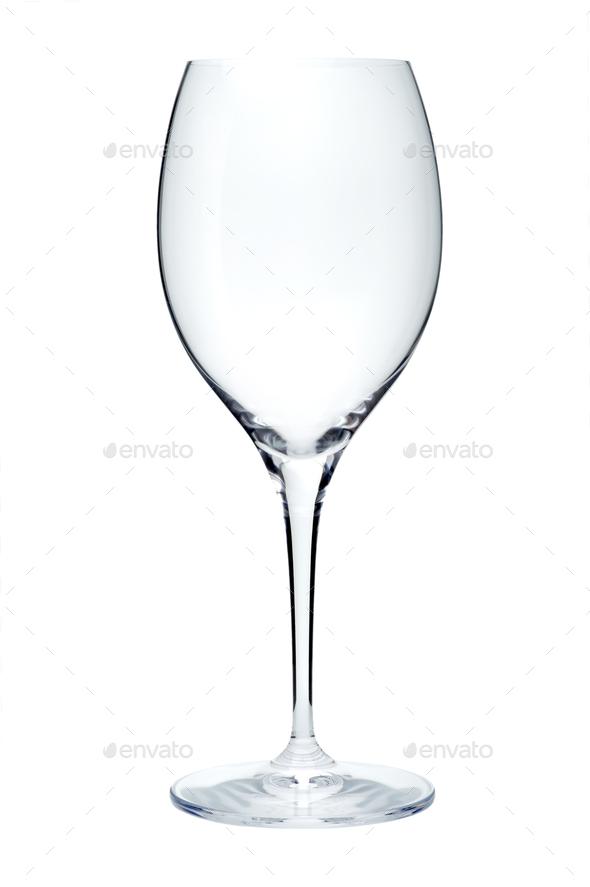 Empty wine glass, isolated on a white background - Stock Photo - Images