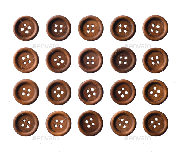 Set of dark brown wooden buttons - Stock Photo - Images