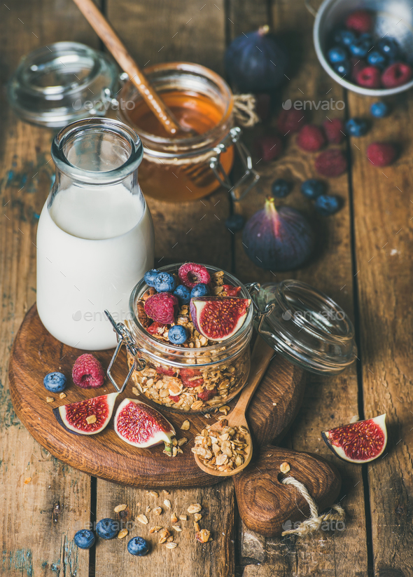 Healthy vegetarian breakfast with Oatmeal granola and almond milk - Stock Photo - Images