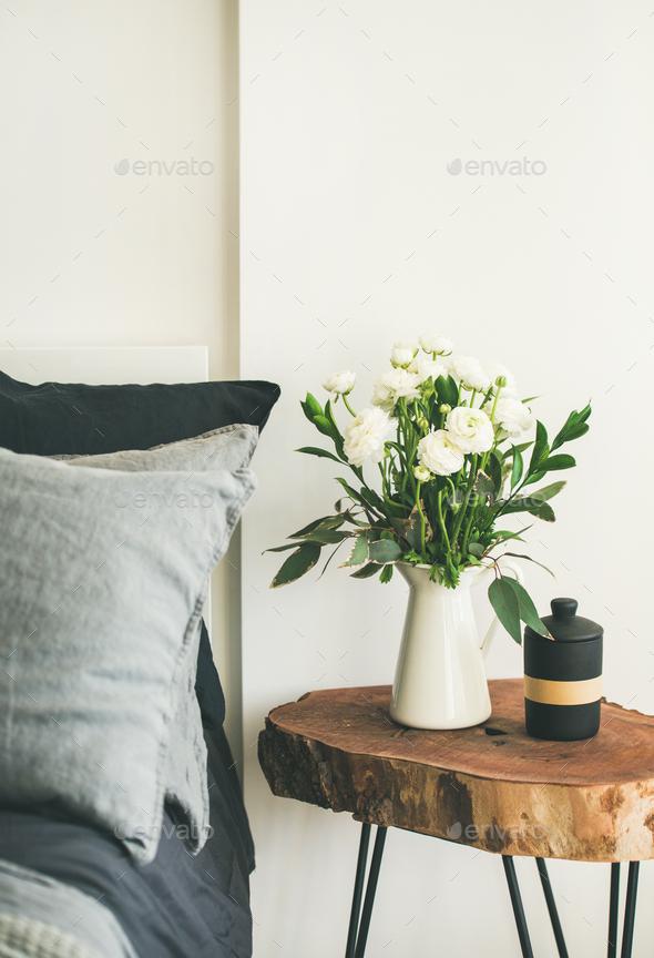 Trendy Scandinavian style bedroom interior - Stock Photo - Images