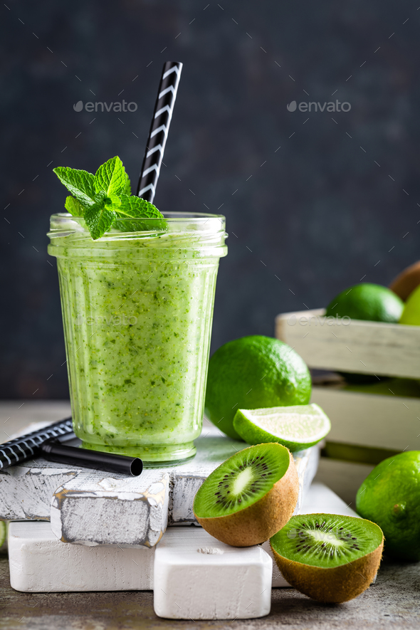 Smoothie with fresh green apple, kiwi and lime - Stock Photo - Images