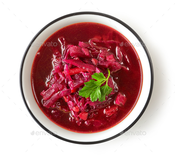 bowl of beet root soup borsch - Stock Photo - Images