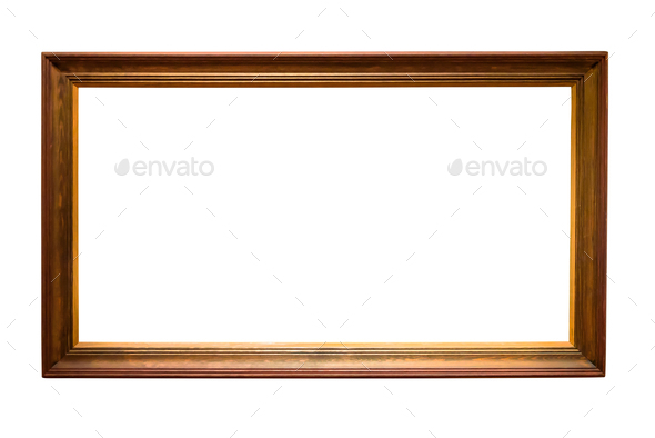 Wooden picture frame on white background - Stock Photo - Images