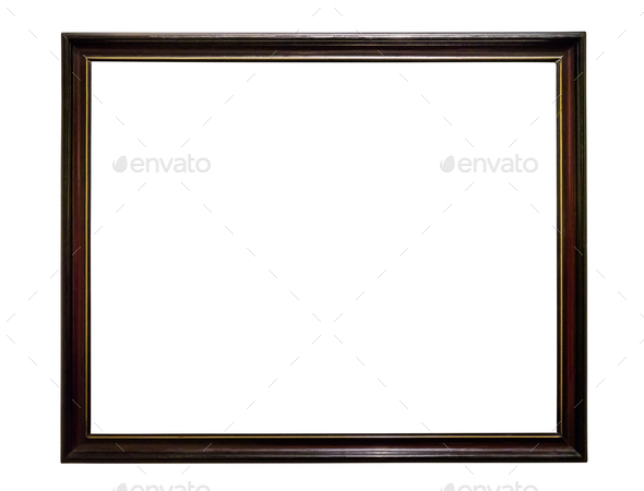 Dark wooden picture frame on white backround - Stock Photo - Images