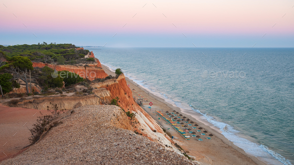 Falesia Beach seen from the cliff at dusk - Stock Photo - Images