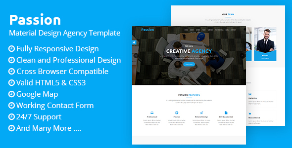 Passion - Material Design Agency Template Free Download | Nulled
