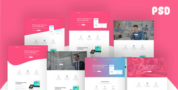 Apps Club – App Landing Page PSD Template Free Download | Nulled