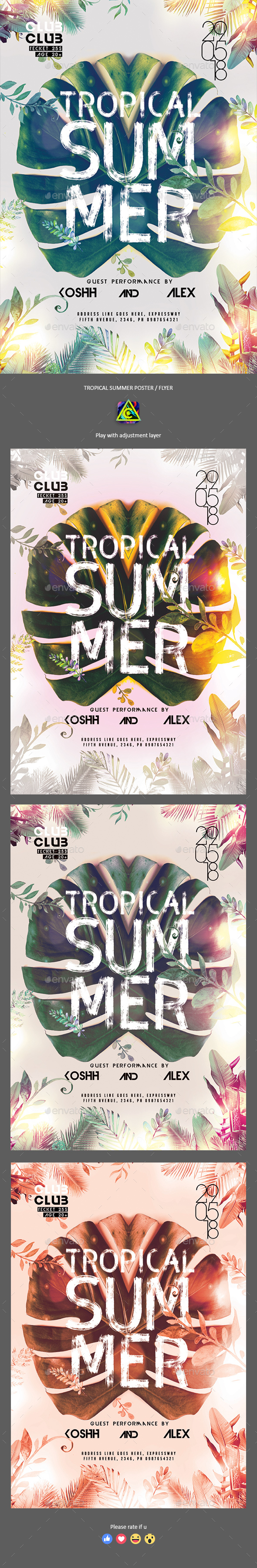 Tropical Summer Poster / Flyer - Clubs & Parties Events