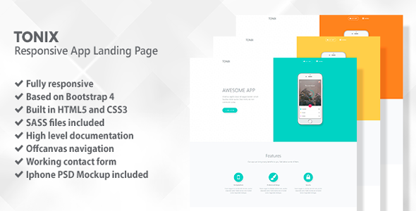 Tonix | Responsive App Landing Page
