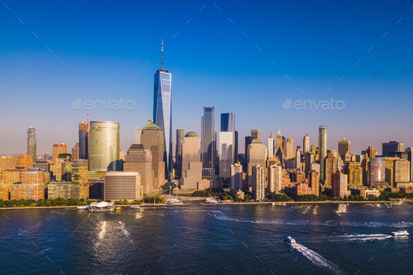 Lower Manhattan Skyline with a view of the One World Trade Cente - Stock Photo - Images
