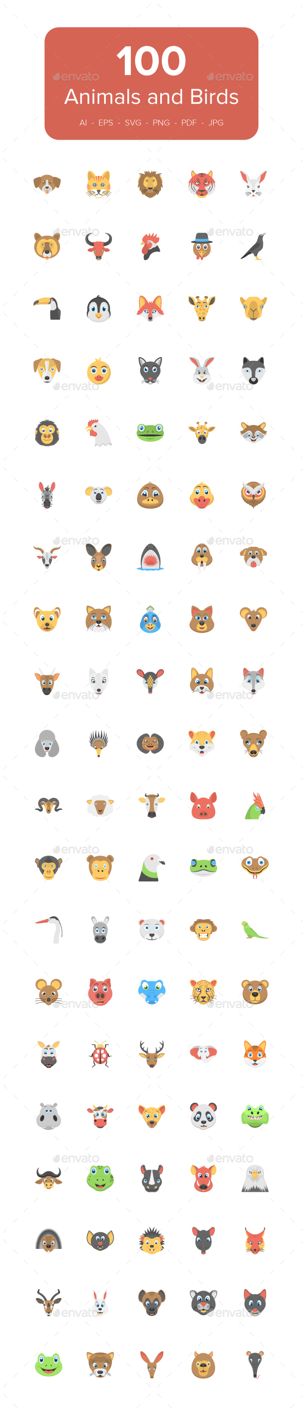 100 Flat Animals and Birds Icons - Icons