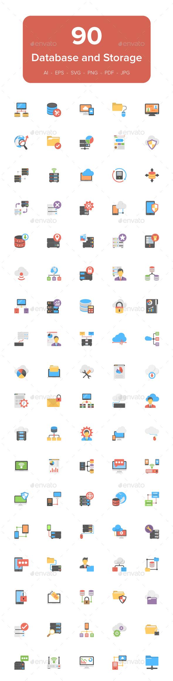 90 Database and Storage Flat Icons - Icons