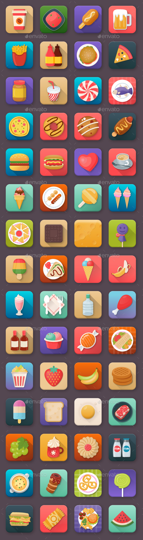 60 Food and Drinks App Icons - Icons