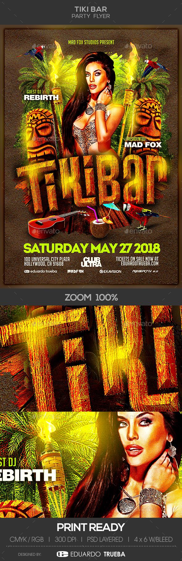 Tiki Bar Party Flyer - Events Flyers