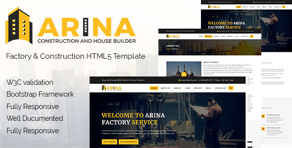 Arina - Factory & Construction HTML5 Responsive Template. - Business Corporate