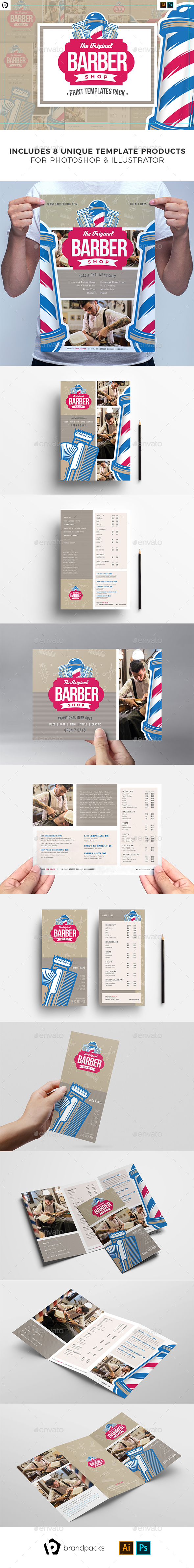 Barber Shop Print Templates Bundle - Commerce Flyers