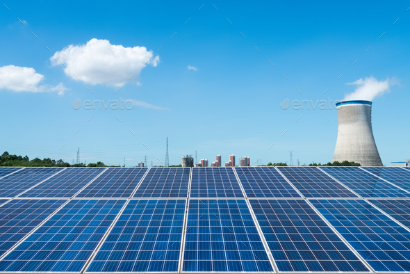 solar panel and cooling tower - Stock Photo - Images