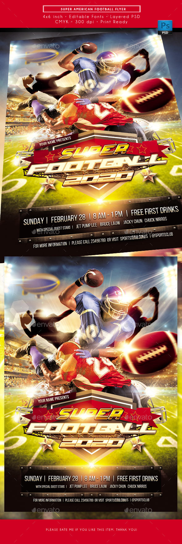 Super American Football Sports Flyer - Sports Events