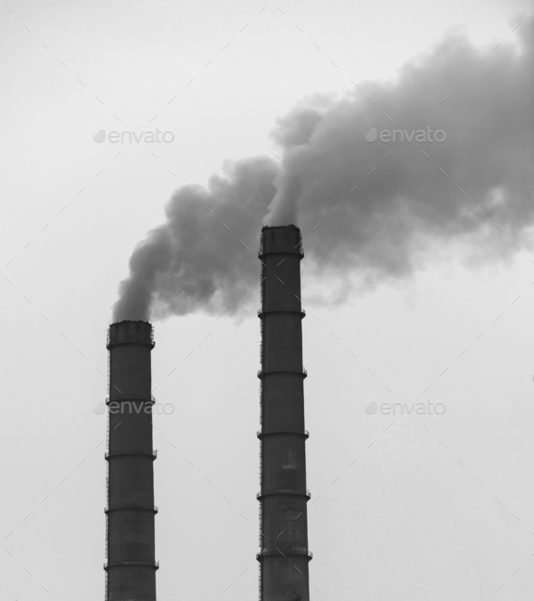 Factory pipes smoke - Stock Photo - Images