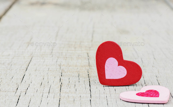 hearts on wooden background - Stock Photo - Images