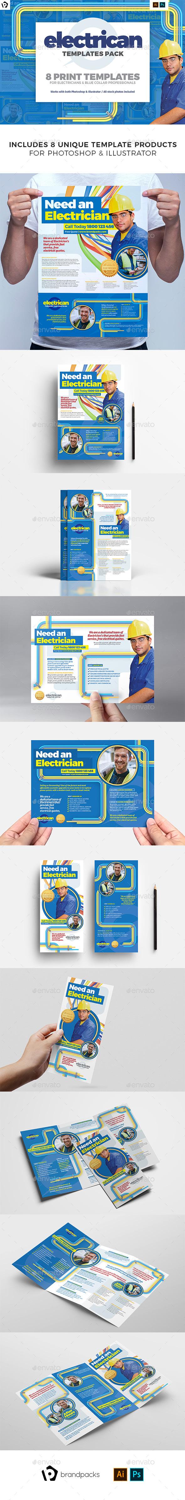 Electrician Print Templates Bundle - Commerce Flyers
