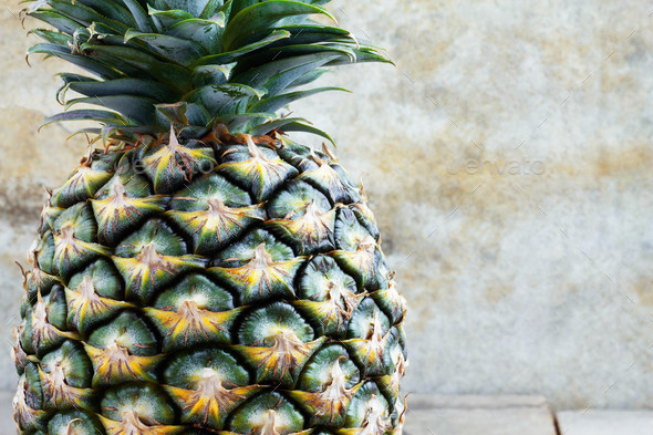 Pineapple with old wall - Stock Photo - Images