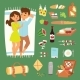 Barbecue Summer Picnic Lie Man and Woman Lovely - GraphicRiver Item for Sale